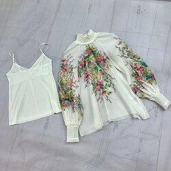 Праздничный стиль, льняные блузки, топы, весна 2020, новинка, цветочный принт, рубашка с длинным рукавом, элегантная Свободная блузка