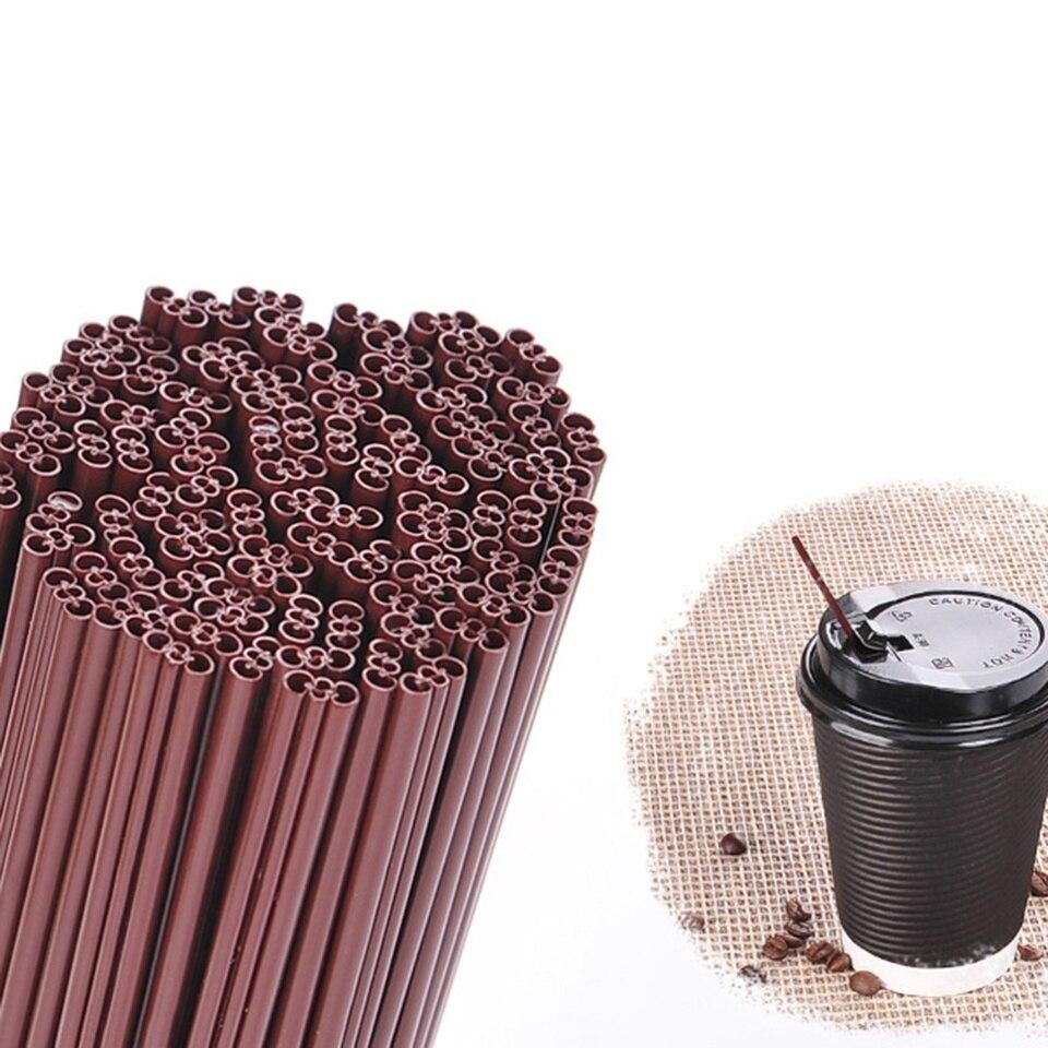 200pcs Disposable Three-hole Straws Plastic Coffee Stirring Stick Drinking