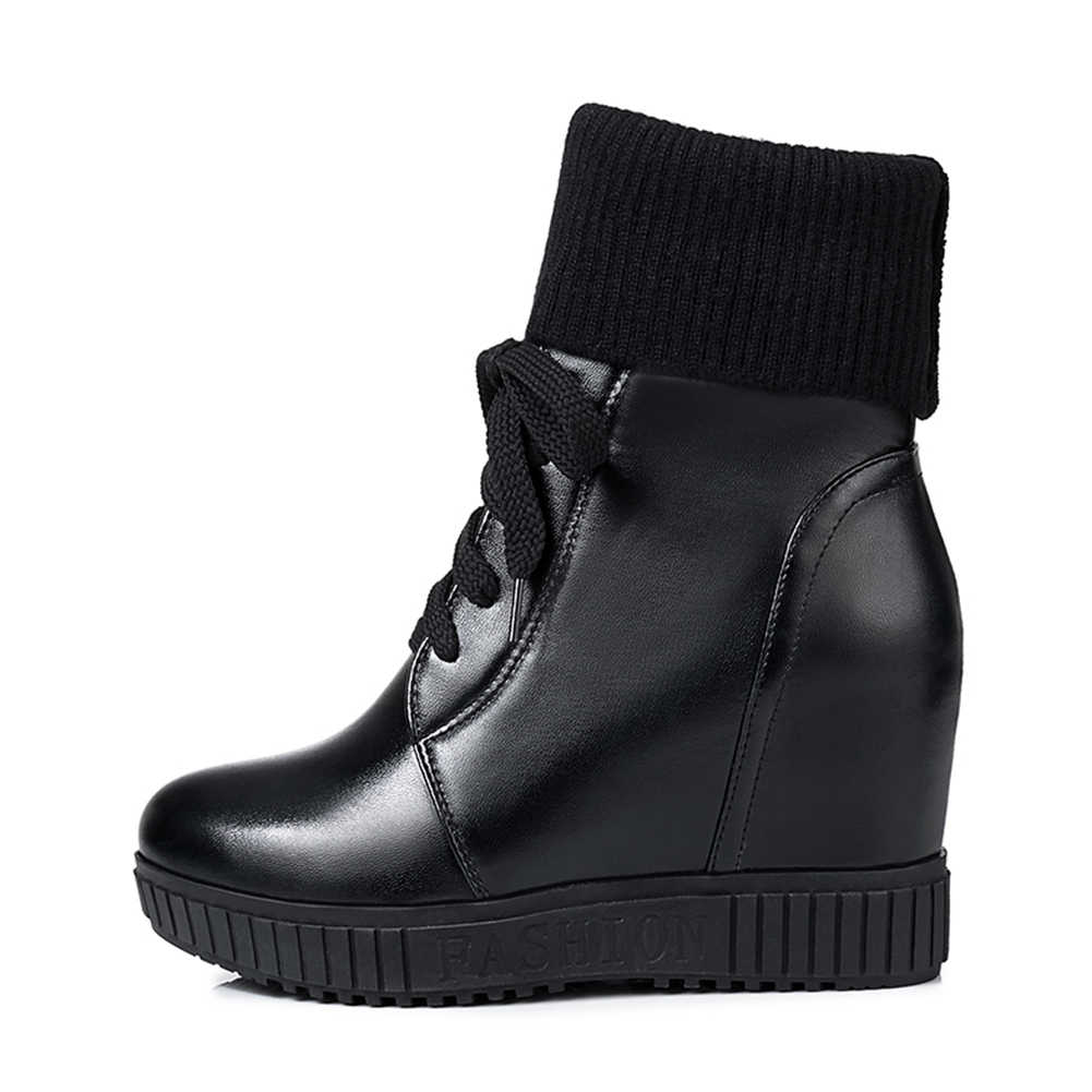 BONJOMARISA ขนาดใหญ่ 33-43 หญิงแฟชั่น 5 ซม.ความสูงเพิ่มขึ้นรองเท้า Elegant ข้อเท้ารองเท้าผู้หญิงส้นสูงรองเท้าผู้หญิง