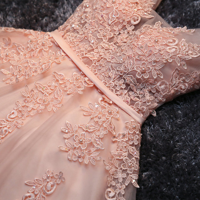 Elegant Pearl Pink Prom Dresses 2020 Sexy Prom Dress Short V Neck Appliques Beading Lace Up Knee-Length Graduation Party Gowns 4