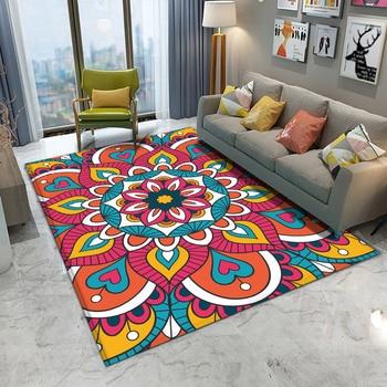 Alfombra rectangular étnica con patrón de flores de colores para el hogar...