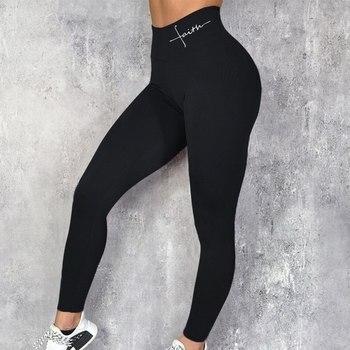 2020 Push Up Letter Print Leggings Women Workout Leggings Slim Leggings Polyester High Waist Jeggings Women Pencil Pants 1