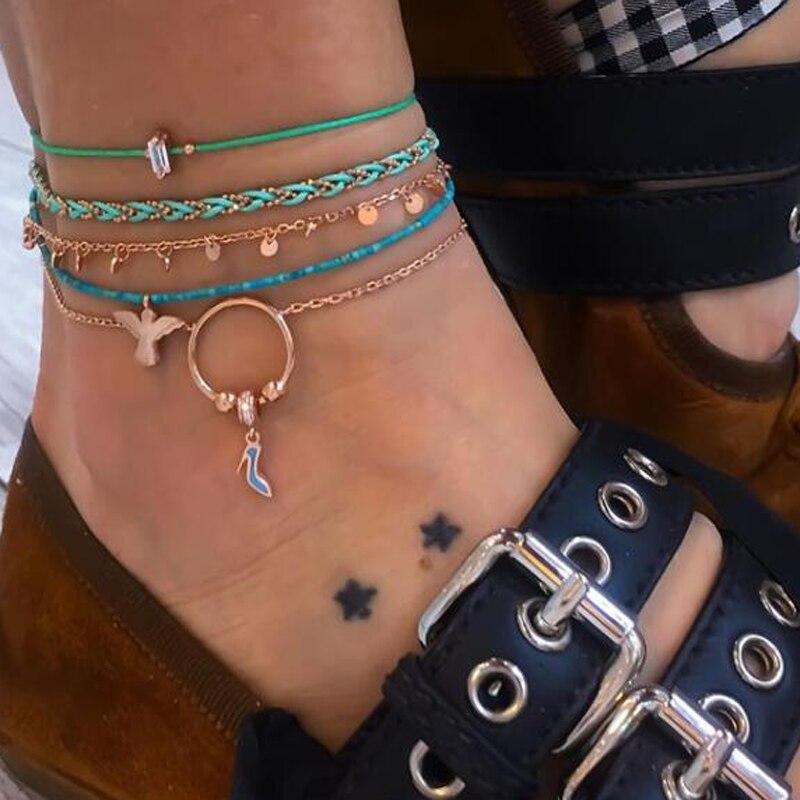 docona Boho Blue Beads Bird High Heels Charm Five Layer Anklet Set for Women Weaving Anklets 5pcs/set Tobilleras 8980