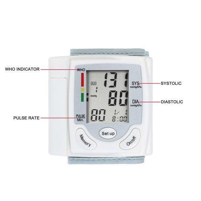 Tonometer LCD Display Blood Pressure Monitor Wrist Pulse Meter Automatic Digital Pulsometer Sphygmomanometer Home Health Care