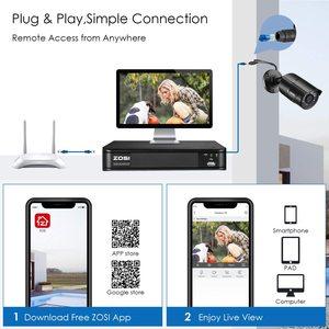 Image 5 - Видеорегистратор ZOSI 4CH H.265, 2 МП, водонепроницаемая камера видеонаблюдения