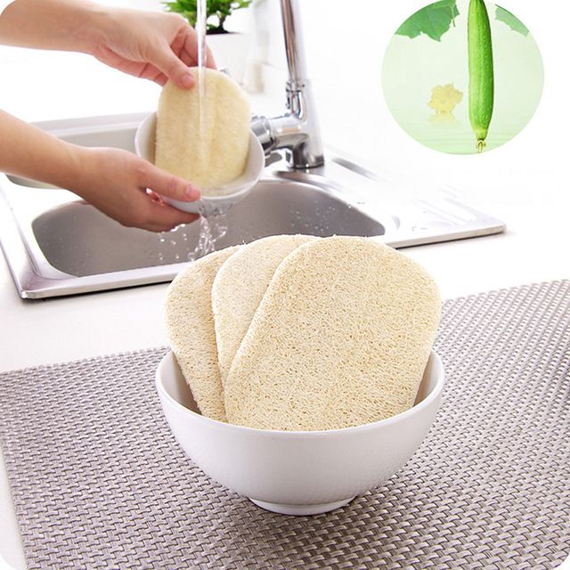 3pcs/set Natural Dish Sponge Loofah Plant Scrubber Cleaning Cloth for Kitchen 1