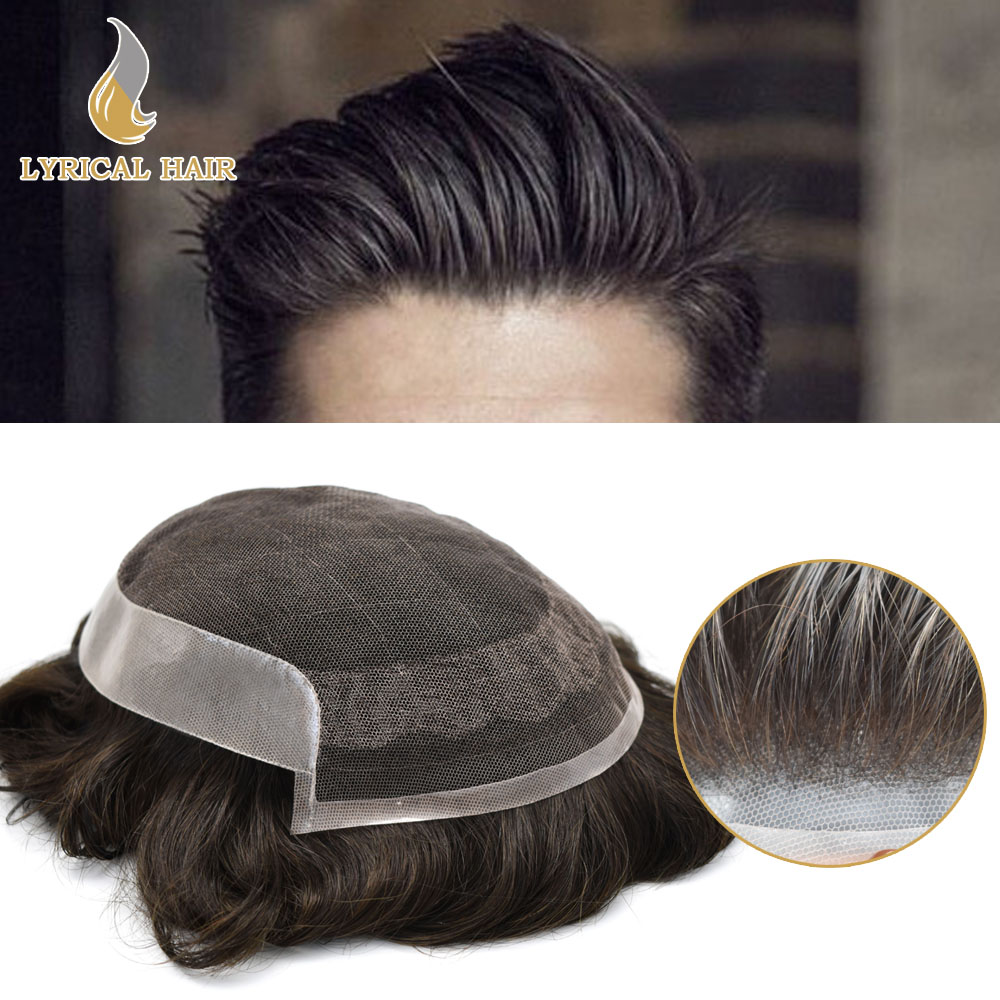 Mens Toupee Replacement Hair-System Human Natural-Black French for All-Sizes 1b-Poly