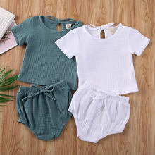 2019 New arrival Newborn Kids Baby Boy Girl Clothes Cotton & Linen Tops+Shorts Pants Outfits Set(China)