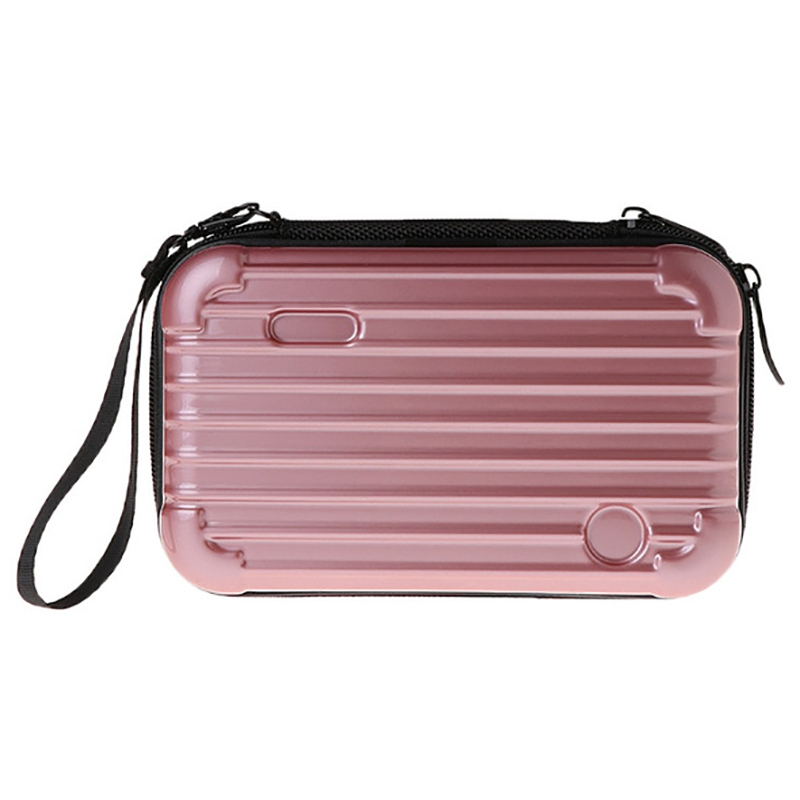 New Mini Suitcase Cosmetic Bag Women Travel Waterproof Toiletry Storage ABS+PC Shell Organizer Toilet Make Up Bag Rose Gold