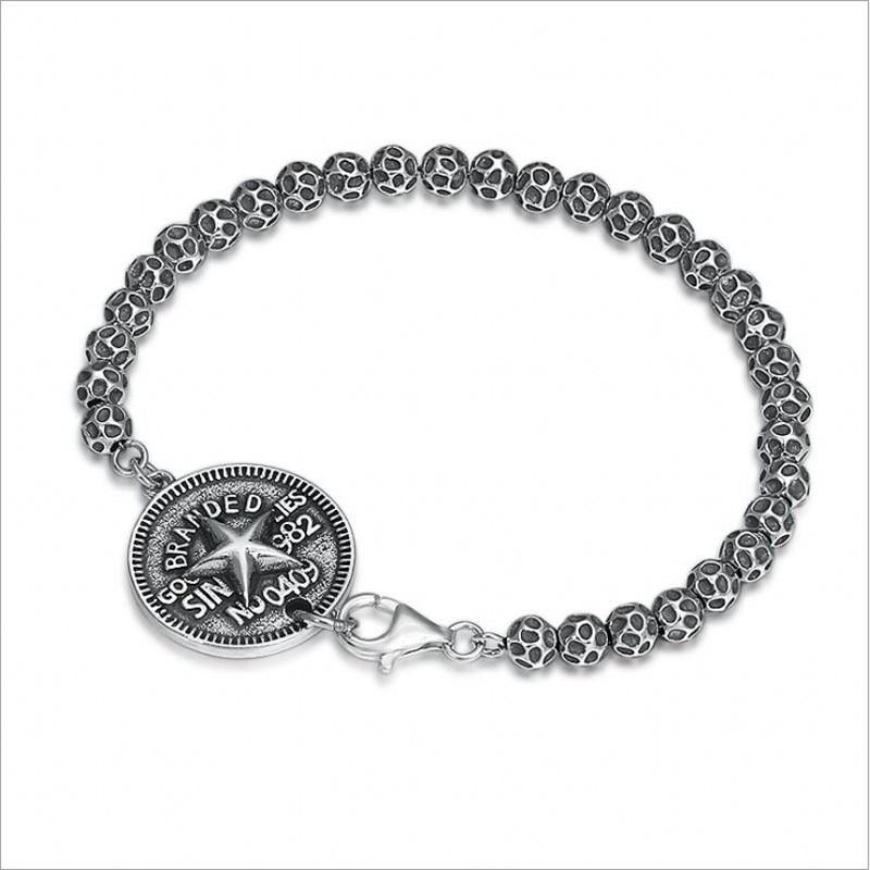 S925 argent pur créatif vent frais hommes et femmes chaîne en argent Thai argent cinq branches étoile lettre ronde hommes bracelet en argent - 5