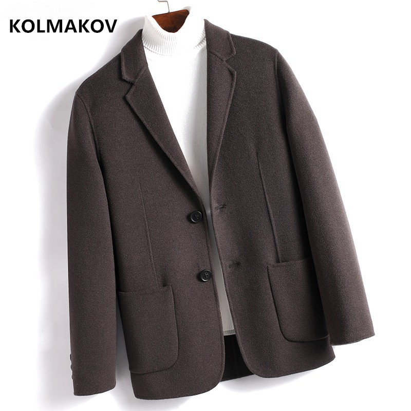 2019 Winter Double Sided Wool Coat Men's Casual Woolen Coats Single Breasted Men Overcoat  High Quality Trench Coat ,K002