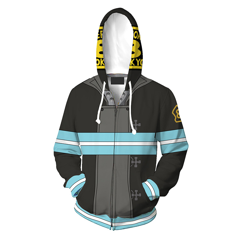 Anime Enn Enn No Shouboutai Fire Force Shinra Kusakabe Hoodie 3D Print Cosplay Costume Jacket Zipper Hooded Sweatshirt