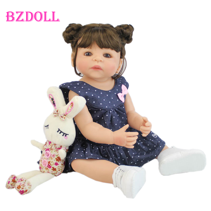 55cm Full Silicone Vinyl Body Reborn Girl Lifelike Baby Doll Newborn Princess Toddler Toy Bonecas Waterproof Birthday Gift(China)
