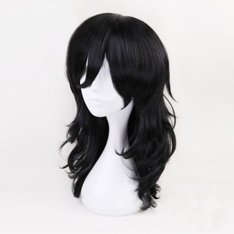 Anime My Hero Academia Akademia Shouta Aizawa 45cm Black Wavy Wig Man Women Heat Resistant Cosplay Costume Wig + wig Cap Cosplay
