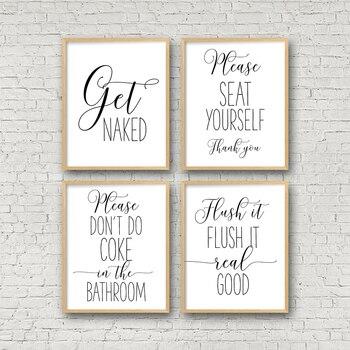 Divertido signo de baño lienzo póster pared arte impresiones conseguir desnudo por favor asiento usted mismo tirar a la basura Real buena letreros de baño decoración