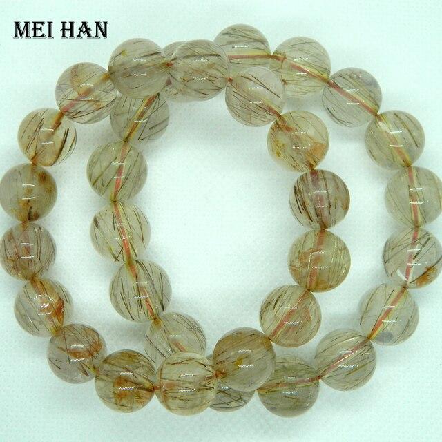 Meihan Natural one way rutile quartz 13 13.5mm (30beads/lot/95g) for Jewelry diy making  women bracelet men bracelet