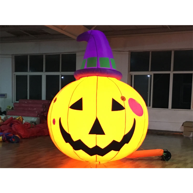 Free Shipping Halloween Inflatable Pumpkin Lantern Witch with Built-In Fan and LED Lights Outdoor Amusement Park Decoration