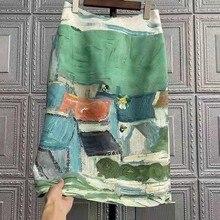 2021 New Arrival Spring summer European Style Women Casual Vintga Print Skirt Elegant Slim High Waist Pencil Skirts W368