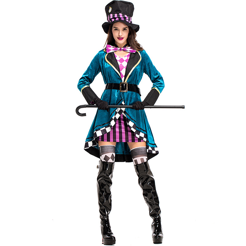 País das Maravilhas Traje para Adultos Alice Palhaço Chapeleiro Louco Mulheres Fantasia Sexy Mágico Cosplay Halloween Carnaval Vestido no Mod. 139742