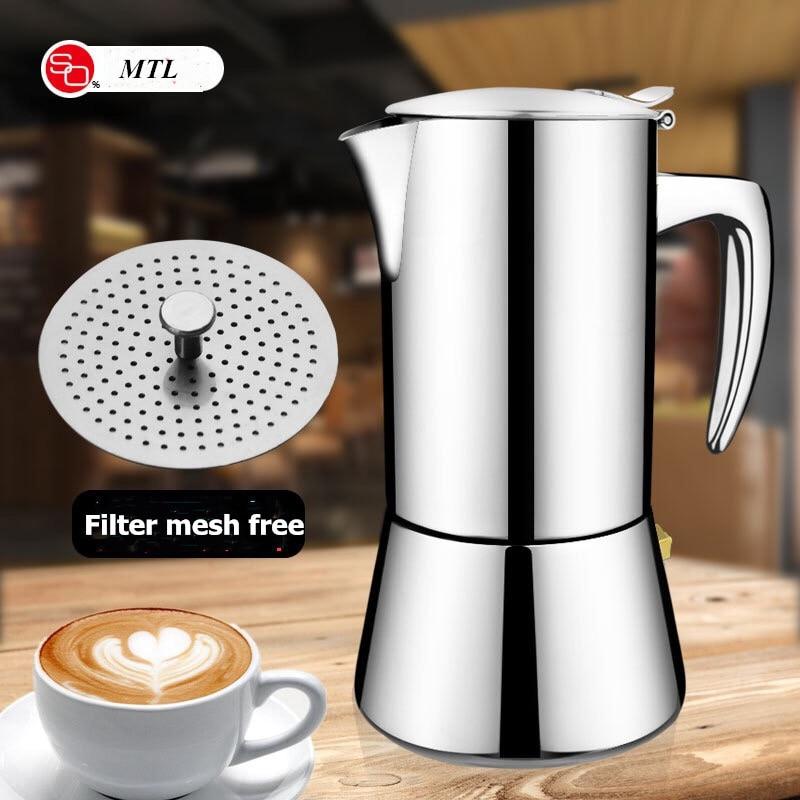 Geyser Coffee Maker Induction Cooker 300ML 304 Stainless Steel Espresso Coffee Maker Coffee Pot  Moka Pot Italian Coffee Machine