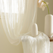 Modern Linen Curtain For Living Room Bedroom Sheer Curtains Striped Beige Thick Tulle Window Treatments Customized