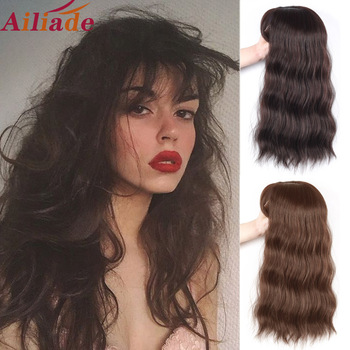 AILIADE Water wave topper hairpiece Human hair mixed Synthetic Hair clip in one piece with bang Toupee for Women wig - discount item  40% OFF Synthetic Hair