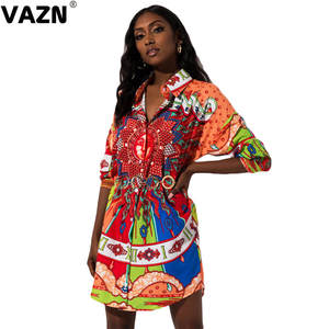 VAZN T-Shirt Dress Button Colors Full-Sleeve Sexy Lady Summer GKM18035 Fly New-Product