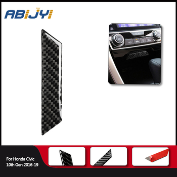 1piece Car Styling Carbon Fiber Interior Storage Box Sticker Cover For Honda Civic 10th Gen 2016-2019 Car Accessories image