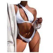 Sexy biquinis 2021 mulher maiô unilaterais mini tanga biquíni conjunto natação praia maiô ropa muje