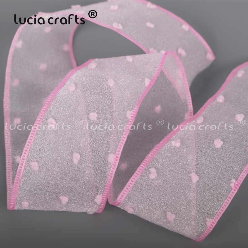 1 stoczni drukowane różowy ryps satynowe wstążki z organzy Dot siatka taśma koronkowa kokarda diy Craft szycia odzieży dekoracje ślubne X0311