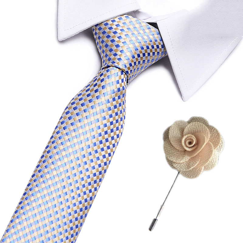 New Classic Plaid Neck Ties For Men Casual Suits Tie 7.5 Cm Stripe Blue Mens Neckties For Business Formal Dress Wedding Men Ties