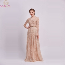 Champagne A-Line Formal Party Prom Dresses 2019 Elegant Three Quarter Sleeves Luxury Beading Sequins Applique Lace Evening Gowns