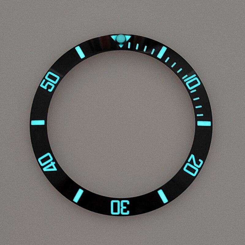 HOT 38mm Black Super Luminous Ceramic Bezel Insert Ring Watch Bezel Fit Sub Divers SKX007/009 Automatic Watch Fully Lumed