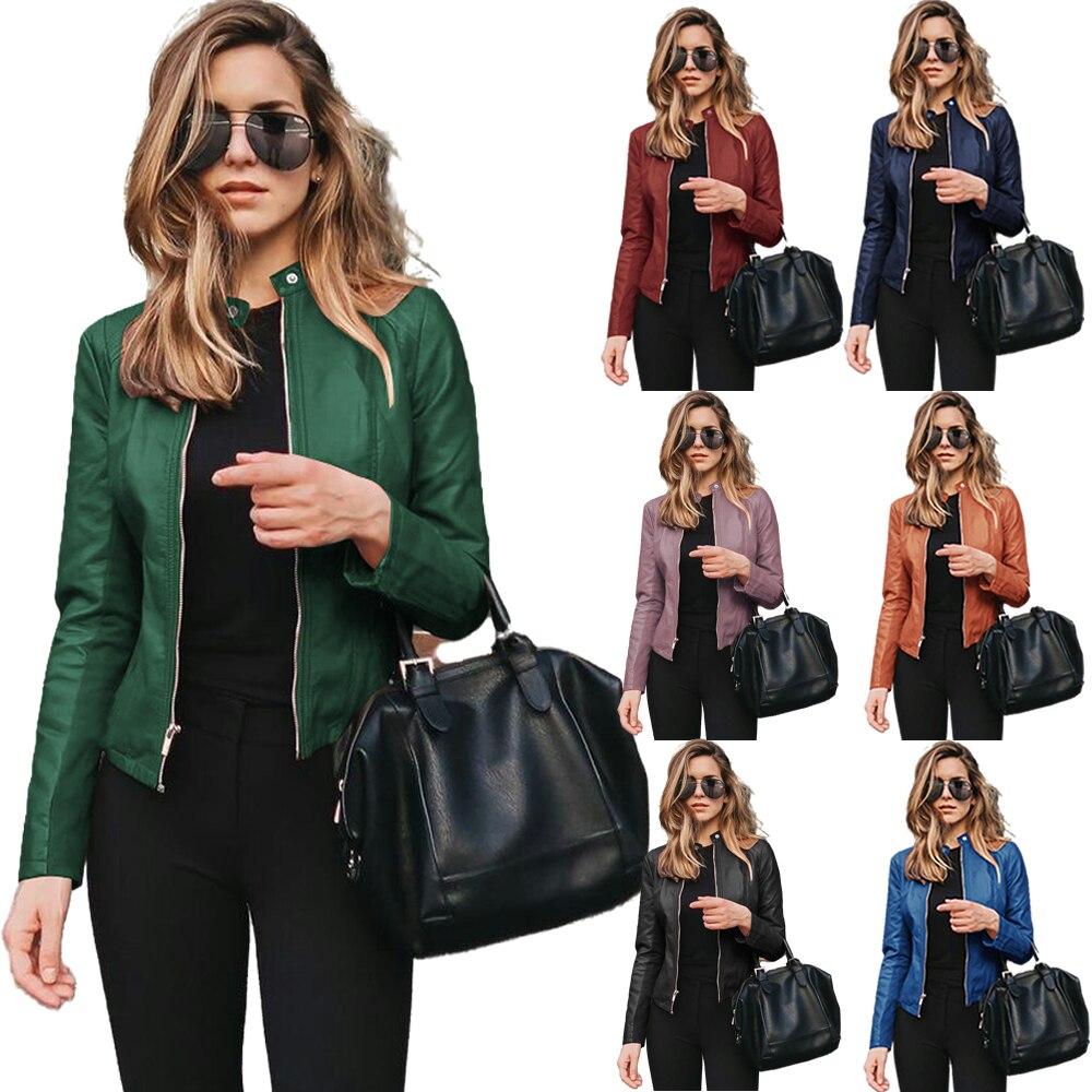 Jacket Women Coat Jacket 2020 tops Winter  PU Leather Keeps Warm Fashion Long Sleeve Coat Thick Warm Female Jacket coat women