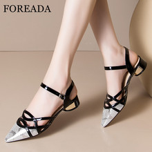 FOREADA Women Slingbacks Pumps Real Leather Med Heels Sheepskin Thick High Heel Shoes Pointed Toe Female Footwear Silver Size 42 цена 2017
