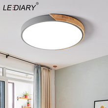 LEDIARY LED Discolor Ceiling Lamp Acrylic Wooden Round Multicolor 18W 96-265V Surface Mounted Lighting Fixtures