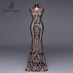 Image 4 - שירי שירים צד פורמלי ארוך שמלת ערב Vestido דה festa יוקרה אדום נצנצים Robe לונג לנשף שמלות