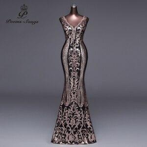 Image 4 - Şiirleri şarkıları örgün parti elbise uzun akşam elbise vestido de festa lüks kırmızı pullu robe longue balo abiye