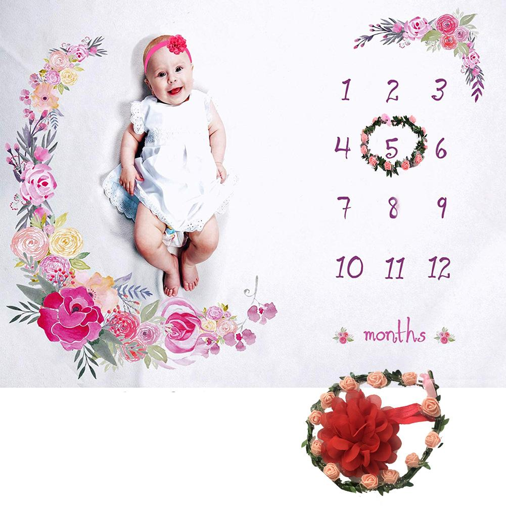 Baby Milestone Blanket Girl Boy Newborn Photography Flannel Flower Baby Monthly Blanket With Floral Wreath Headband For Infant