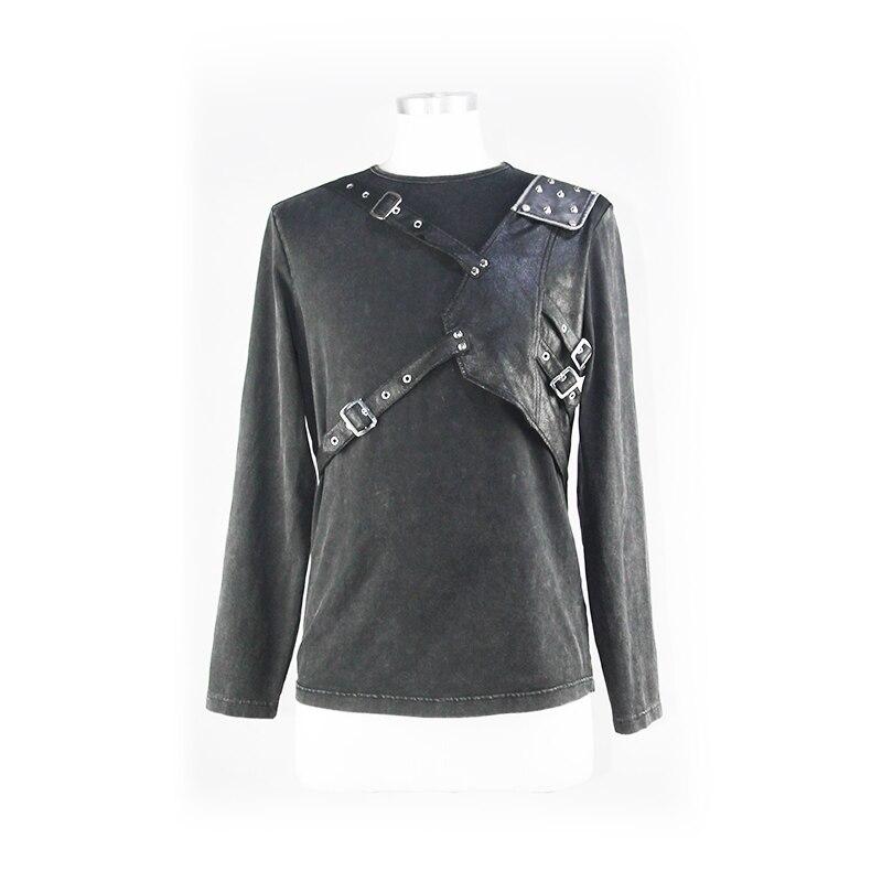 Футболка для мужчин стимпанк Круглый вырез простой черный укороченный топ кожаный ремень для забавных Slim Fit Топы - 5