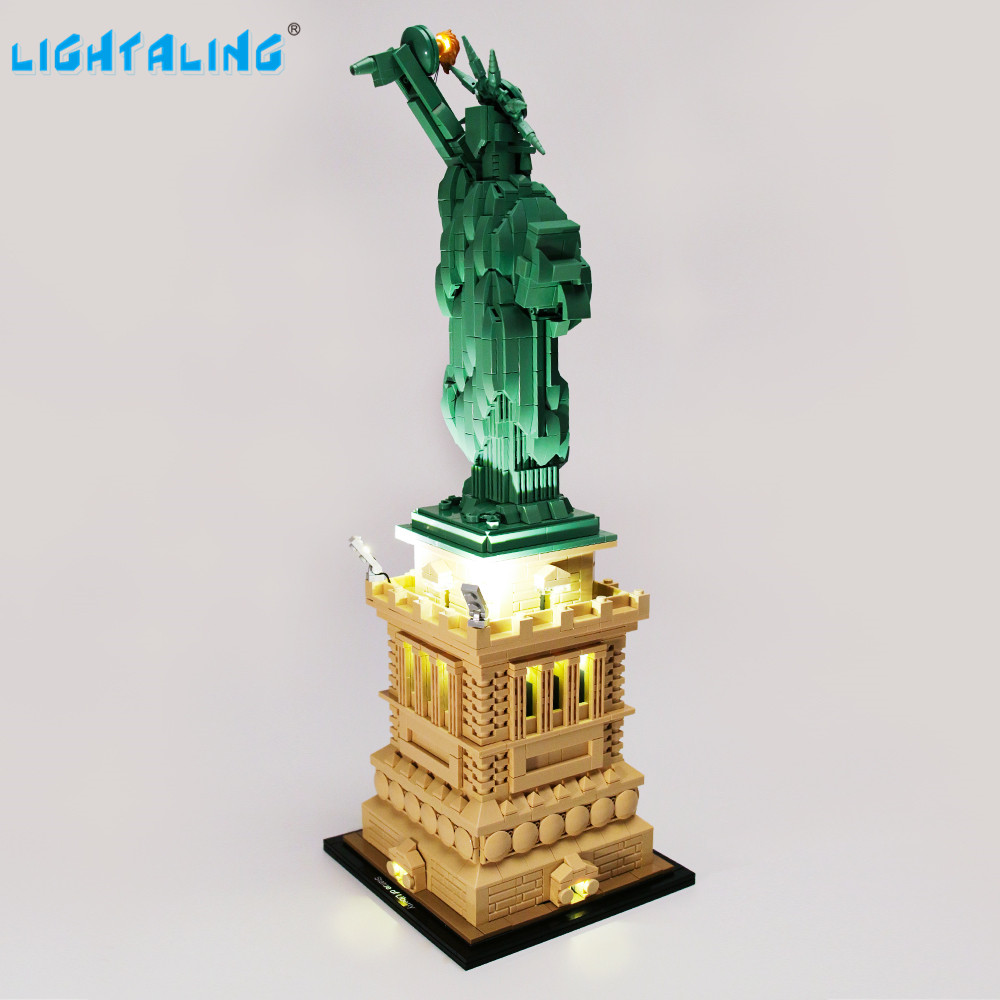 Lightaling Led Light Kit For Architecture Statue Of Liberty  Building Blocks Compatible With 21042 ( Lighting Set Only )