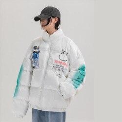 2021 hip hop grosso jaqueta parka feliz graffiti impressão homem blusão streetwear harajuku inverno acolchoado casaco quente outwear
