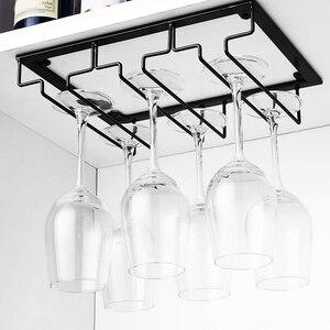 Image 4 - Hanging  Wine Glass Rack Under Cabinet Stemware Wine Glass Holder Glasses Storage Hanger Metal Organizer For Bar Kitchen
