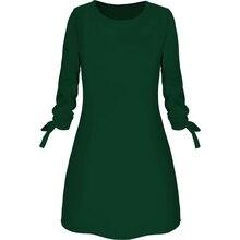 купить Loozykit Ladies dress solid color round neck dress casual waist dress 2019 new fashion дешево
