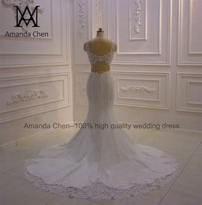 Image 3 - bride dress Simple Elegant Cap Sleeve Lace Appliques Keyhole Back Beach Wedding Dress