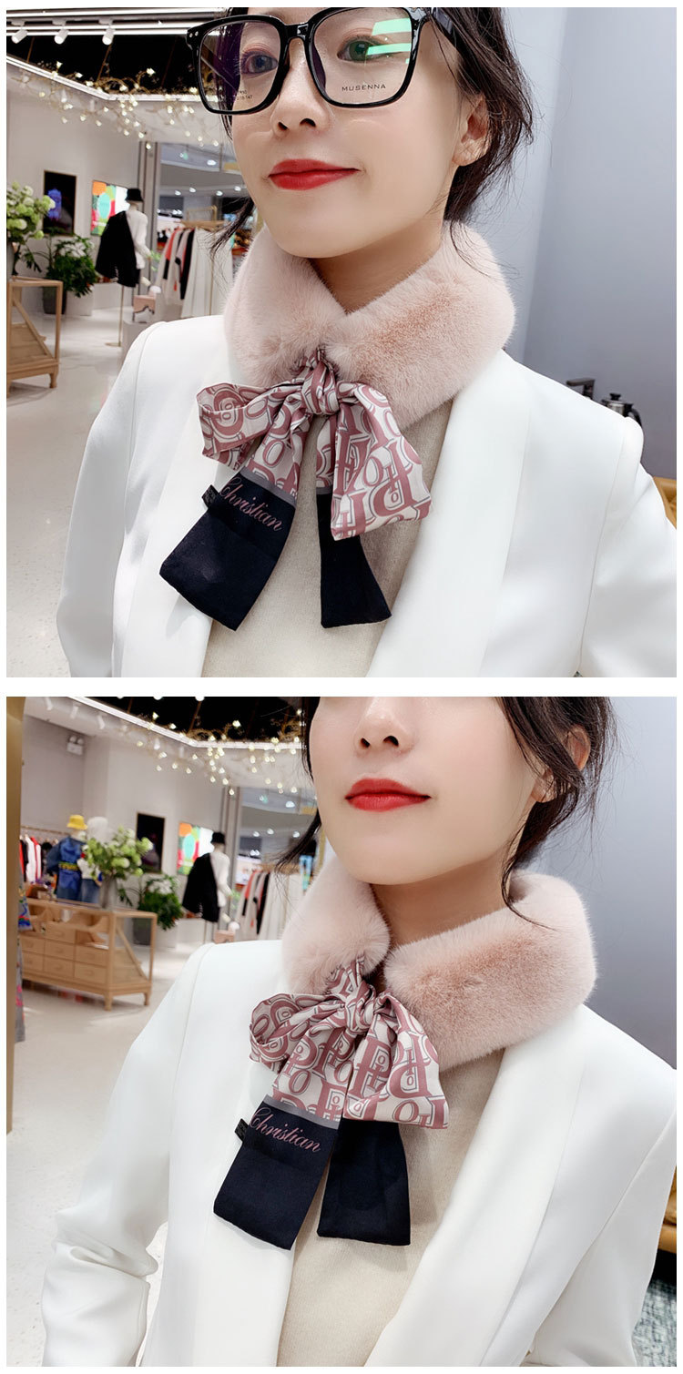 Hb3b93735a1ee47cfabd8e08ee66228063 - New Long Skinny Silk Letter Leopard Printed Hair Head Scarf with Winter Warm Faux Fur Neck Collar Scarves for Women Foulard