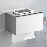 Hotel Engineering Stainless Steel Toilet Paper Extraction Box Waterproof Roll Stand Hole Punched Square Tissue Box Manufacturers