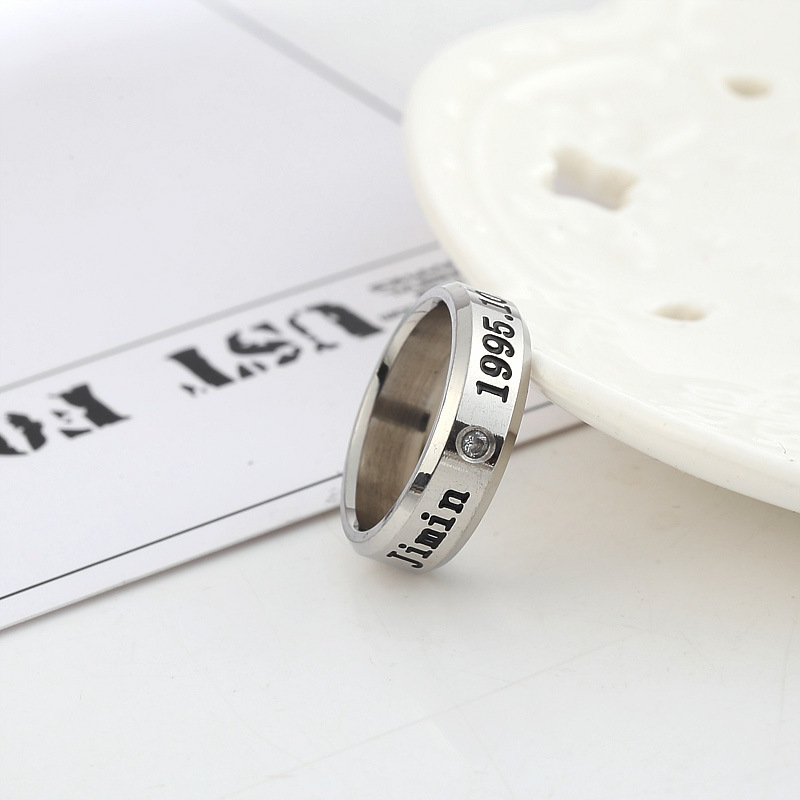 Kpop Bangtan Boys Titanium Steel Rings Birthday Couple JUNGKOOK JIMIN JUNG KOOK V K-pop Bangtan Ring Supplies Stationery Set