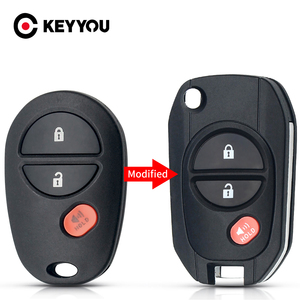 KEYYOU Replacement Remote Car Key Shell Modified Flip 3 Buttns Fob TOY43 Case For Toyota Tacoma HIGHLANDER SEQUOIA Sienna Tundra