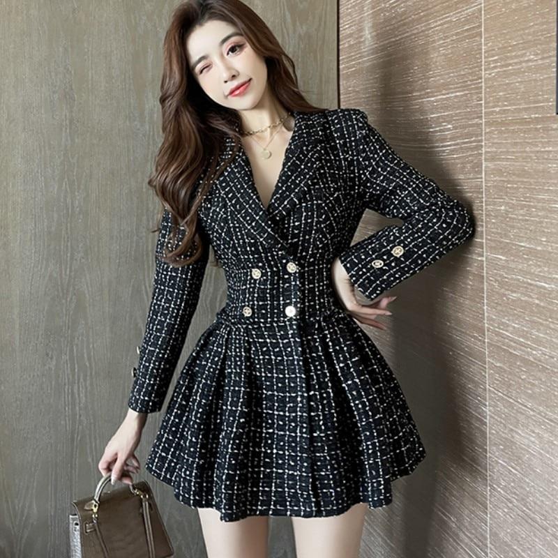Herbst Winter Neue frauen Elegante Tweed Temperament Anzug Zweireiher Hohe Taille Dünnes Gefaltetes Plaid Schwarz Mini Kleid
